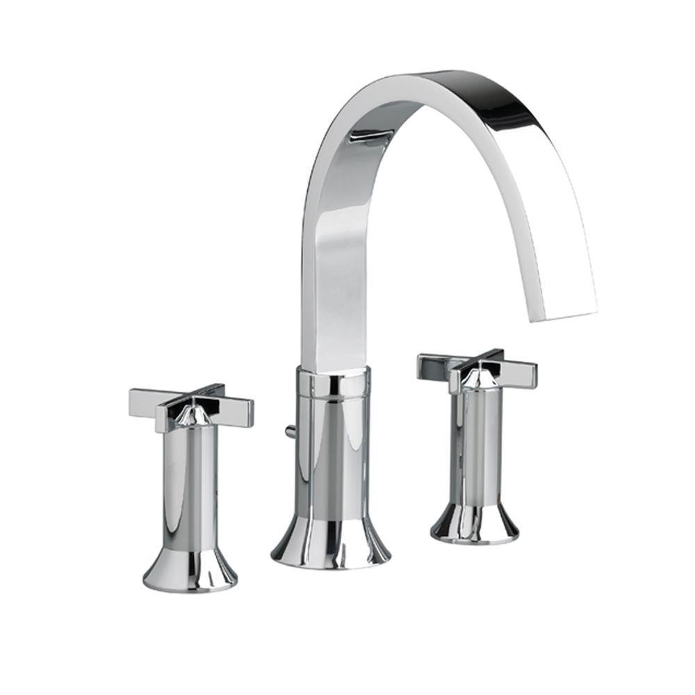 Berwick Cross 2-Handle Deck-Mount Roman Tub Faucet in Polished Chrome