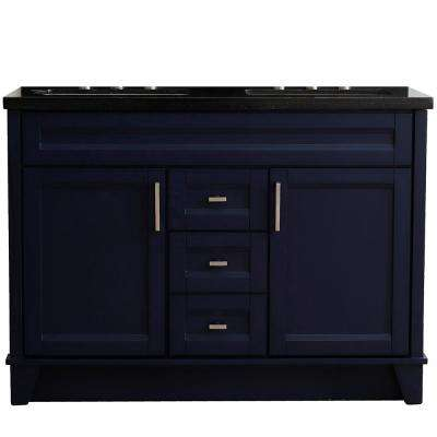 49 in. W x 22 in. D Double Bath Vanity in Blue with Granite Vanity Top in Black Galaxy with White Rectangle Basins