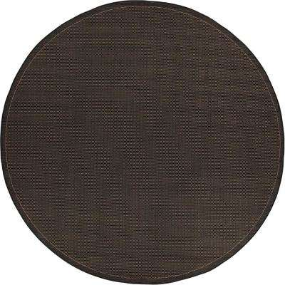 Recife Saddle Stitch Black-Cocoa 8 ft. x 8 ft. Round Indoor/Outdoor Area Rug