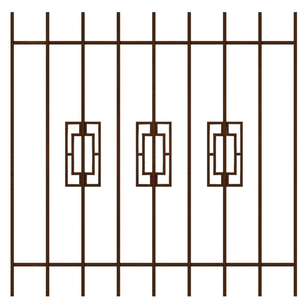Unique Home Designs Modern Trifecta 48 in. x 48 in. Copper 9-Bar Window Guard-DISCONTINUED