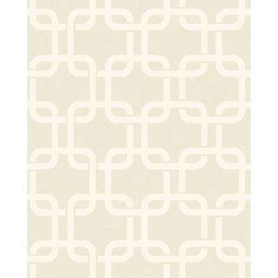 8 in. x 10 in. Waldorf Ivory Links Wallpaper Sample