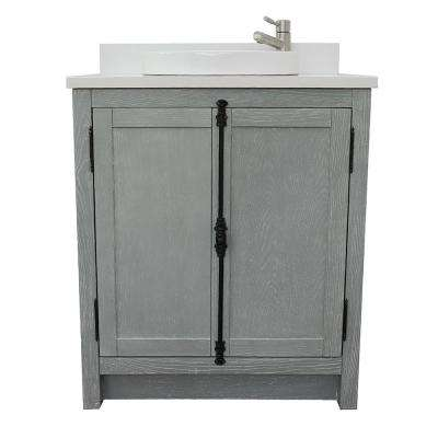Plantation 31 in. W x 22 in. D Bath Vanity in Gray with Quartz Vanity Top in White with White Round Basin