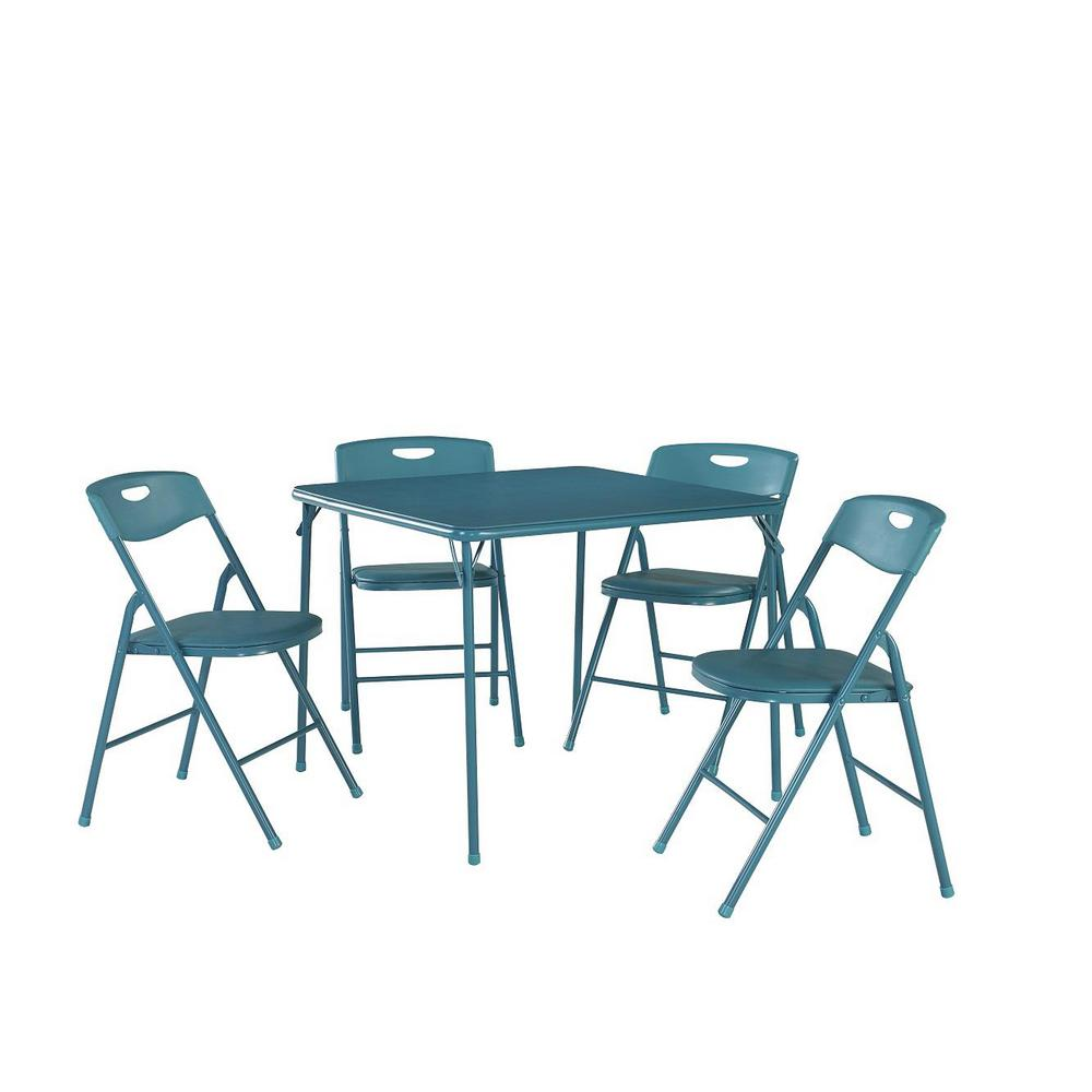 Cosco 5-Piece Teal Portable Folding Card Table  Set