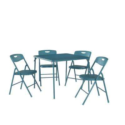 5-Piece Teal Portable Folding Card Table  Set