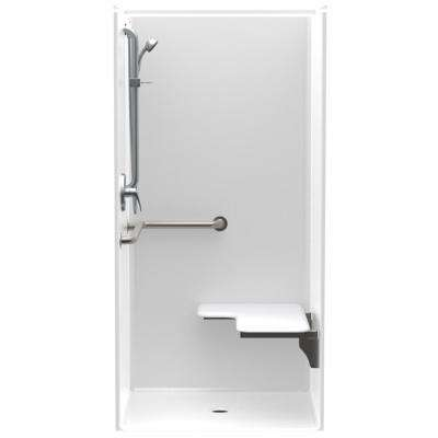 Accessible AcrylX 36 in. x 36 in. x 75 in. 1-Piece Shower Stall with Right Seat & Center Drain in White