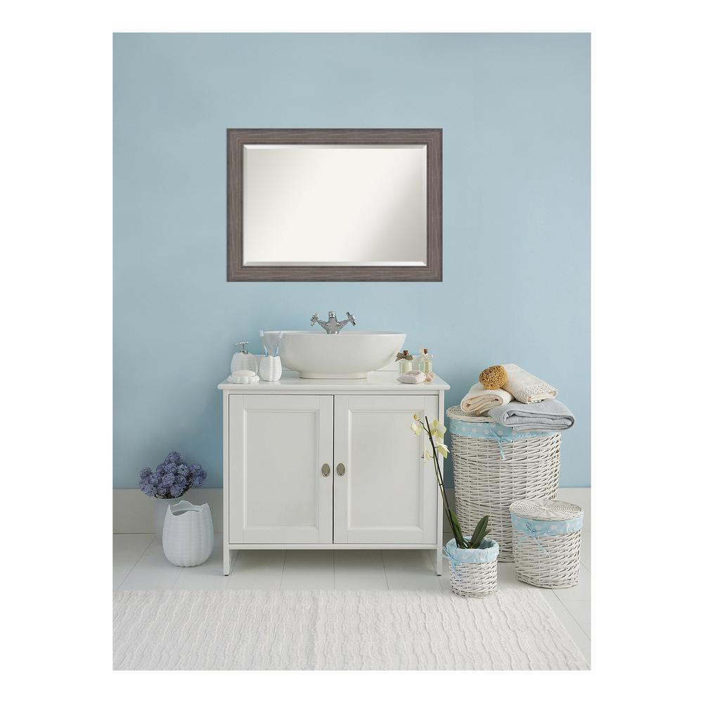 Amanti art country rustic barnwood wood 42 in w x 30 in - White wood framed bathroom mirrors ...