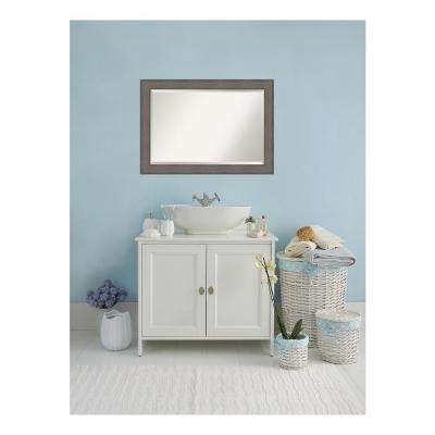 Country Rustic Barnwood Wood 42 in. W x 30 in. H Single Distressed Bathroom Vanity Mirror
