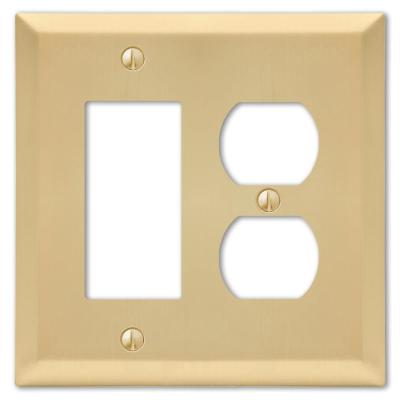 Metallic 2 Gang 1-Duplex and 1-Rocker Steel Wall Plate - Satin Brass