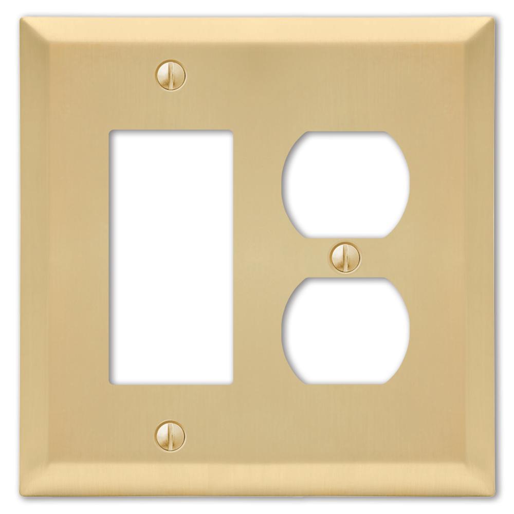 Metallic 2 Gang 1-Duplex and 1-Rocker Steel Wall Plate - Satin Brass