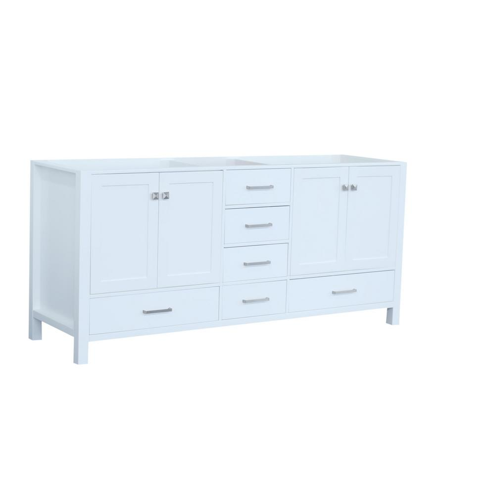 Ariel Cambridge 72 In. W Vanity Cabinet Only In White