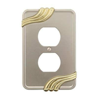 Grayson 1 Gang Duplex Zinc Wall Plate - Nickel and Brass