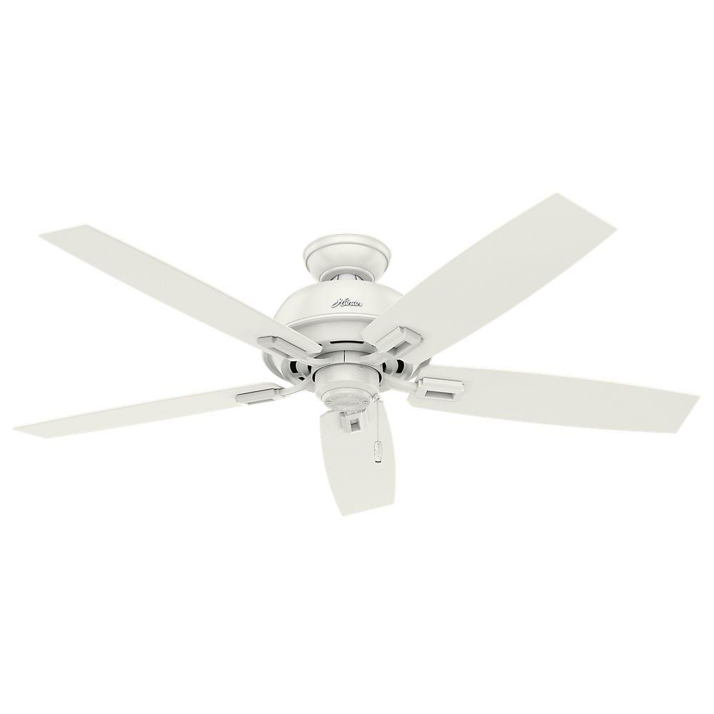 Hunter Donegan 52 in. Indoor/Outdoor Fresh White Ceiling Fan Bundled with Handheld Remote Control