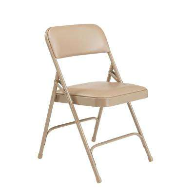 Beige Vinyl Seat Stackable Folding Chair (Set of 4)