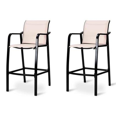Steel Frame Counter Height Stool Outdoor Patio Bar Chair Set (2-Piece)