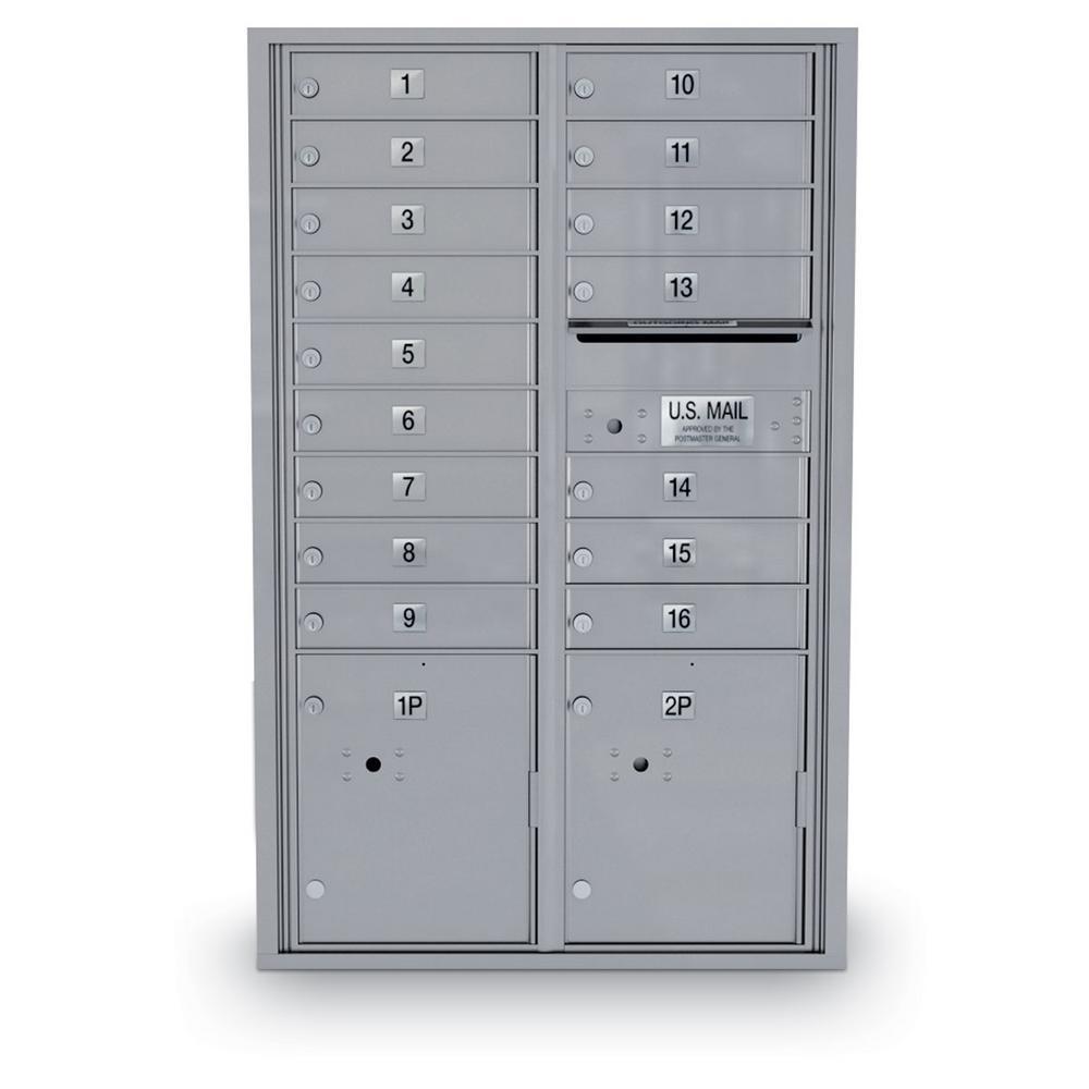 16 Door Standard 4C Mailbox with 2 Parcel Lockers