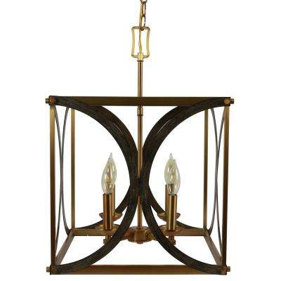 Leith 4-Light Brass and Wood Pendant