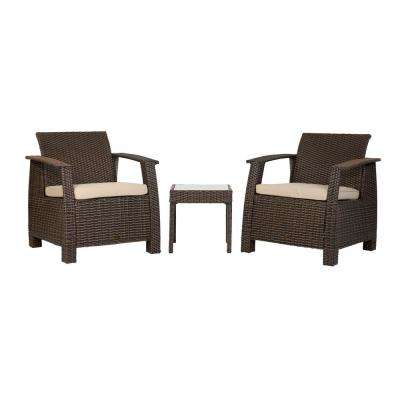 Bondi Mocha 3-Piece Wicker Patio Conversation Set with Taupe Cushions