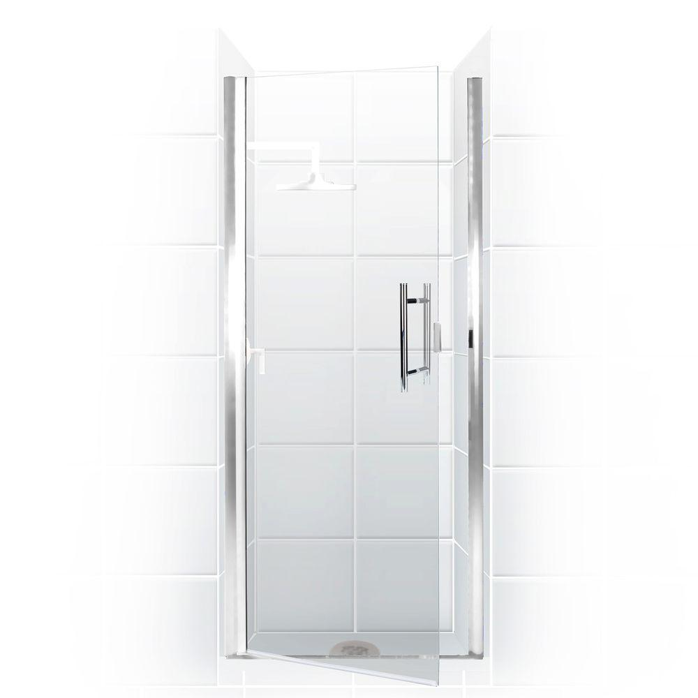 Coastal Shower Doors Paragon Series 26 in. x 82 in. Semi-Framed Continuous Hinge Shower Door in Chrome with Clear Glass