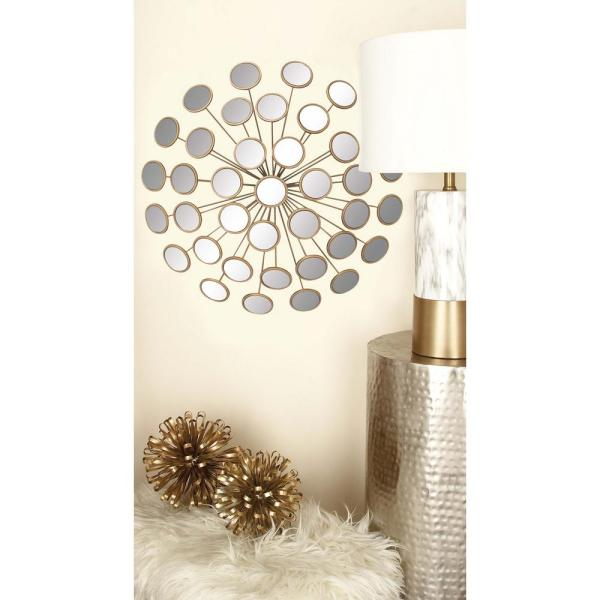 cf3d470013 Litton Lane 24 in. Modern Gold Round Glass Mirrors Wall Decor 48652 ...