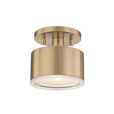 Nora 1-Light Aged Brass LED Flush Mount with Clear Glass