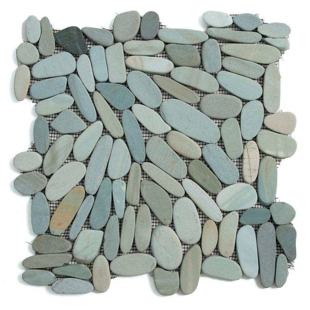 Kuala Batik Blue 12 in. x 12 in. x 12.7 mm Natural Stone Pebble Mesh-Mounted Mosaic Tile (10 sq. ft. / case)