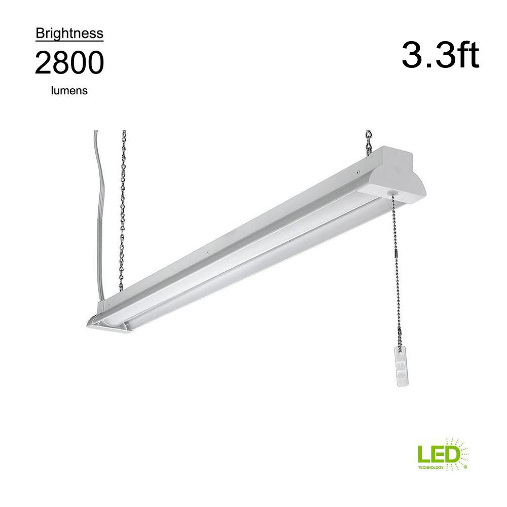 ETi 3.3 ft. 100 Watt Equivalent Integrated LED White Shop Light 4000K Bright White Plug-In with Pull Chain 2800 Lumens