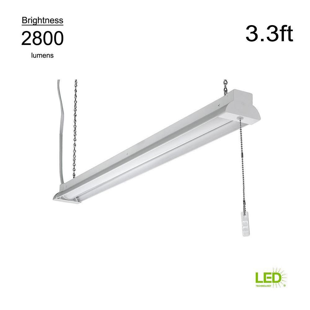 ETi 3.3 ft. 100 Watt Equivalent Integrated LED White Shop Light 4000K Bright White Plug-In with Pull Chain 2800 Lumens