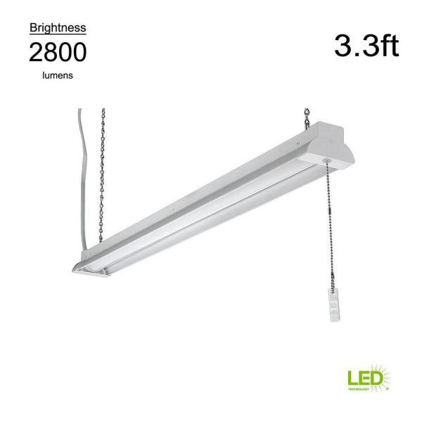 3.3 ft. 100 Watt Equivalent Integrated LED White Shop Light 4000K Bright White Plug-In with Pull Chain 2800 Lumens