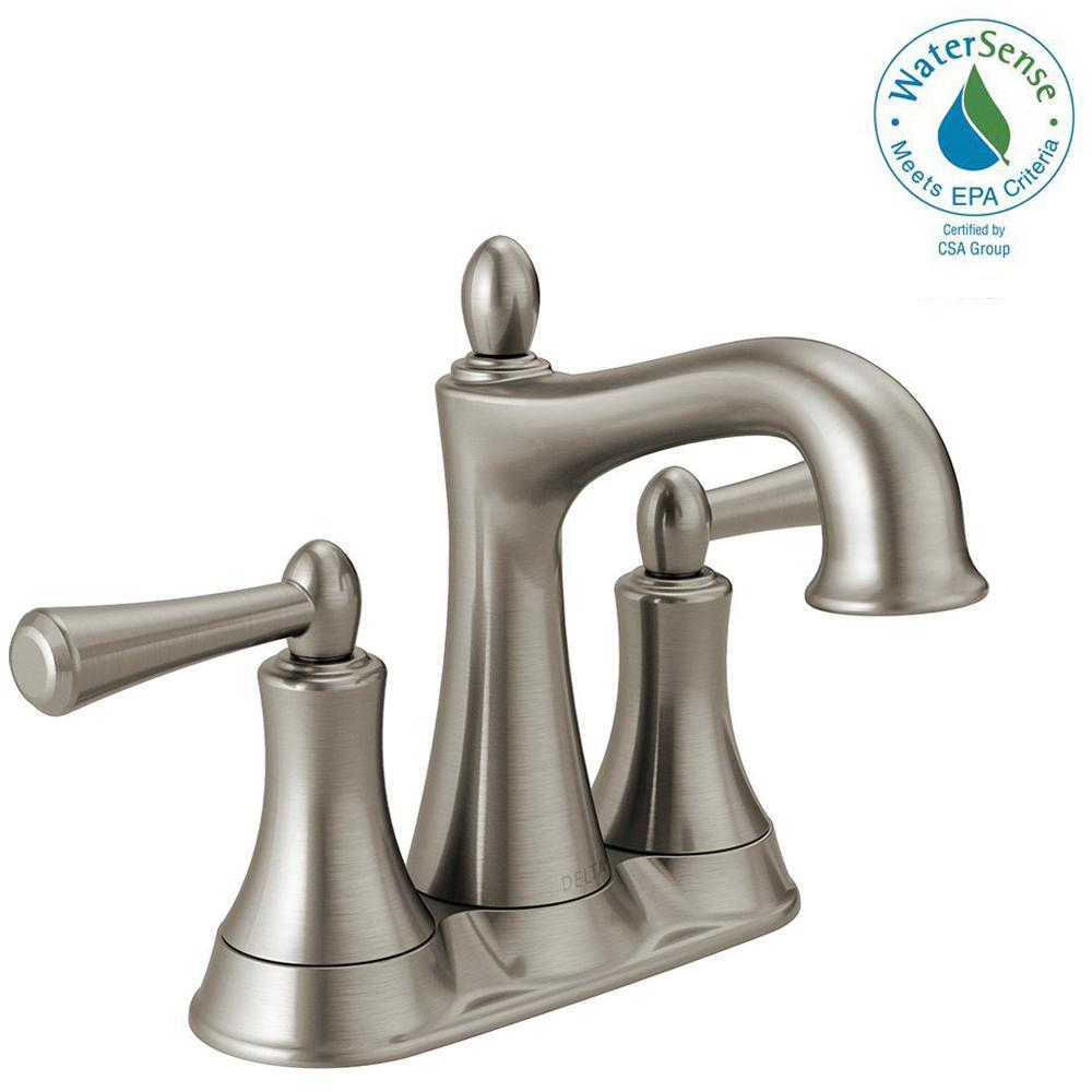 Delta Rila 4 in. Centerset 2-Handle Bathroom Faucet in SpotShield Brushed Nickel
