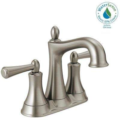 Rila 4 in. Centerset 2-Handle Bathroom Faucet in SpotShield Brushed Nickel