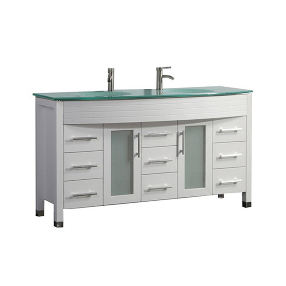 MTD Vanities Fort 71 in. W x 22 in. D x 36 in. H Double Bath Vanity in White with Tempered Glass Vanity Top with Glass Basin
