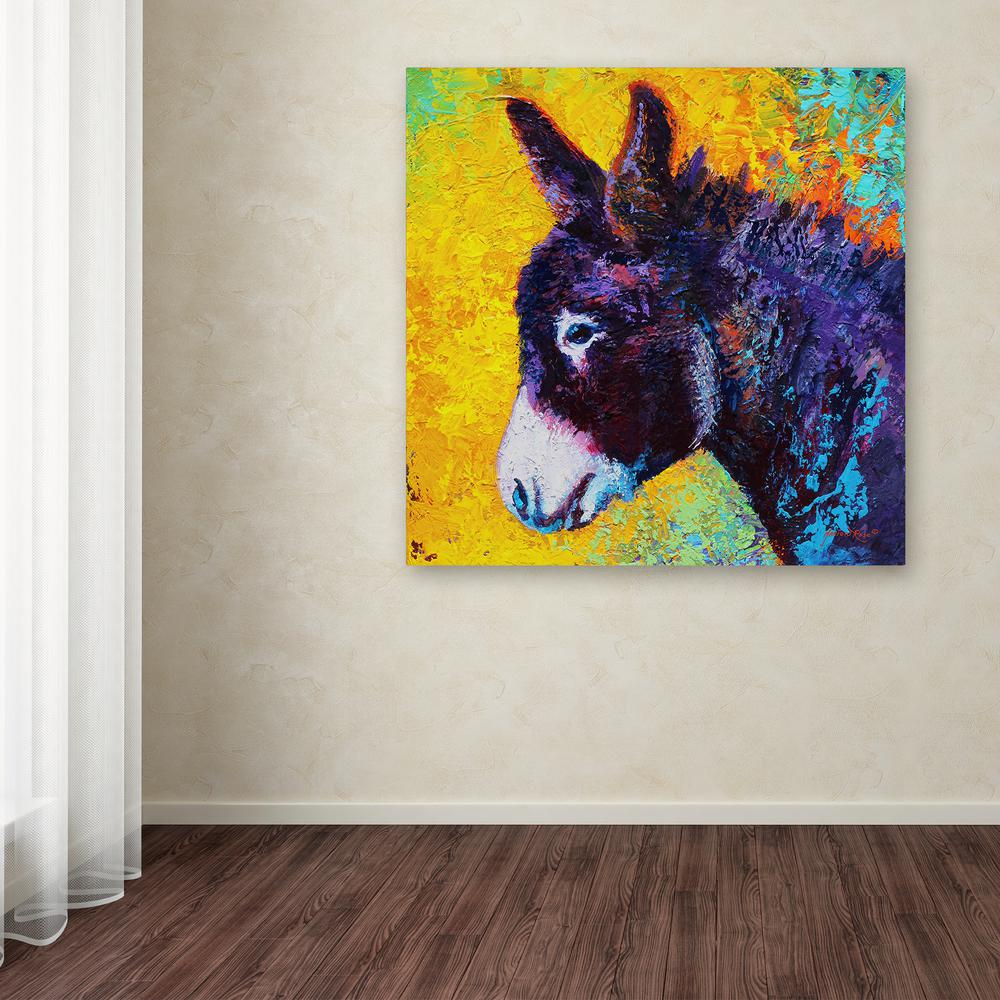Trademark Fine Art 18 In X 18 In Donkey Sparky By Marion Rose Printed Canvas Wall Art Ali10536 C1818gg The Home Depot