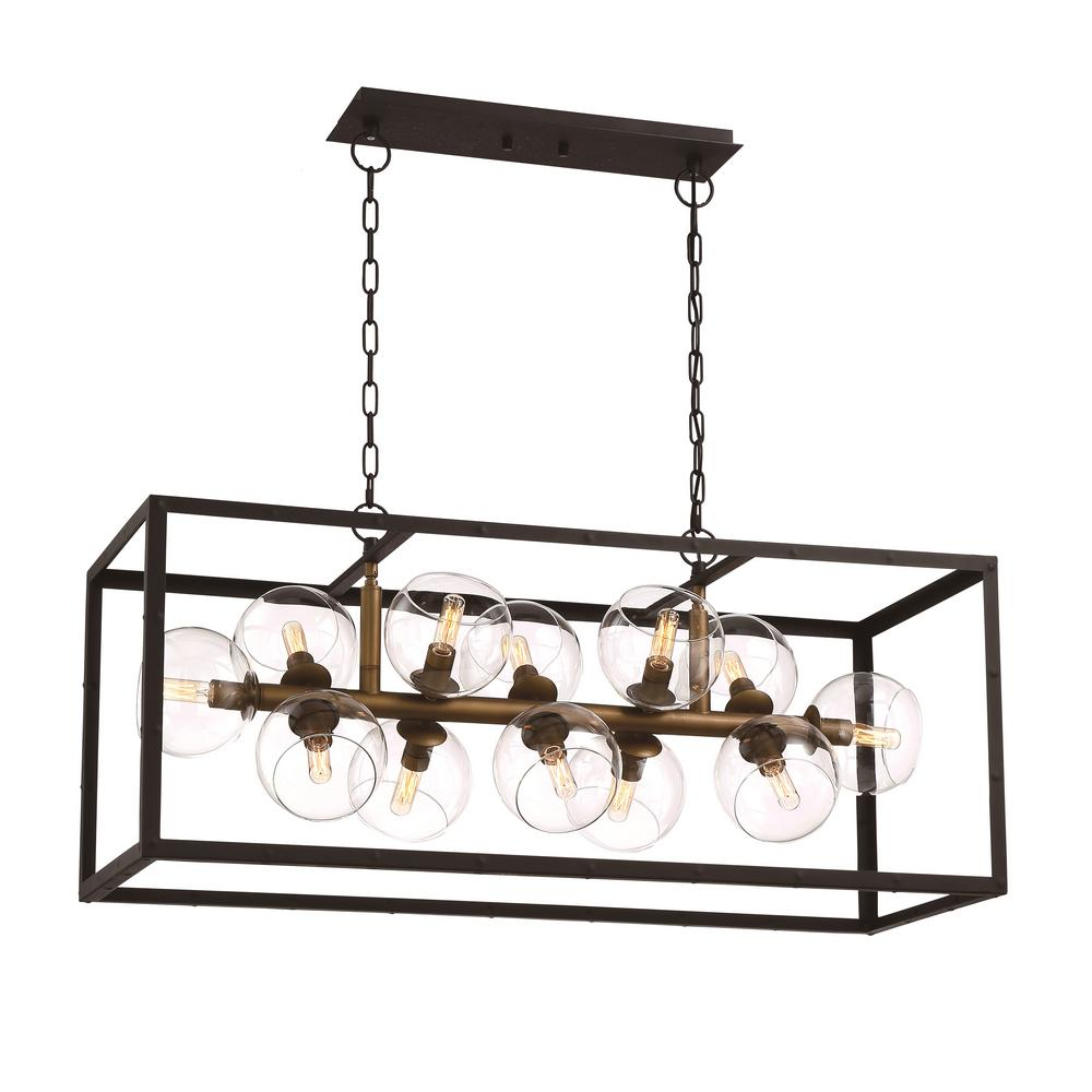 Eurofase Bentley Collection 12-Light Black and Gold Linear Chandelier with Glass Shade