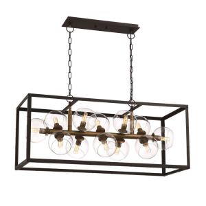 Eurofase bentley collection 12 light black and gold linear eurofase bentley collection 12 light black and gold linear chandelier with glass shade 31647 hb the home depot mozeypictures Image collections