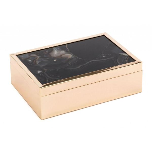 Julia Abstract Black Printed Glass & Steel Stone Box Large