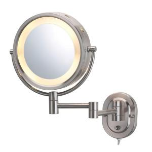 Round Lighted Wall Mounted 5x Magnification Make Up Mirror