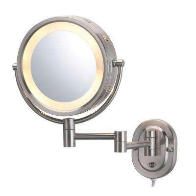8 in. x 8 in. Round Lighted Wall Mounted 5X Magnification Make Up Mirror in Nickel