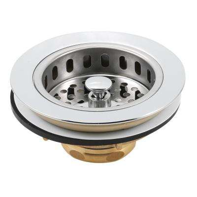 Basket Strainer Stainless Steel Deluxe Drop Down Post 3-1/2 in. to 4 in. Chrome with Putty