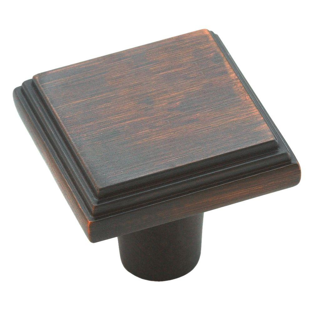 Manor 1 in. Oil Rubbed Bronze Square Cabinet Knob
