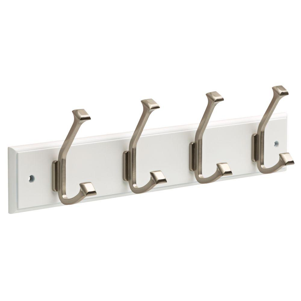 White And Satin Nickel Beveled Square Hook Rack