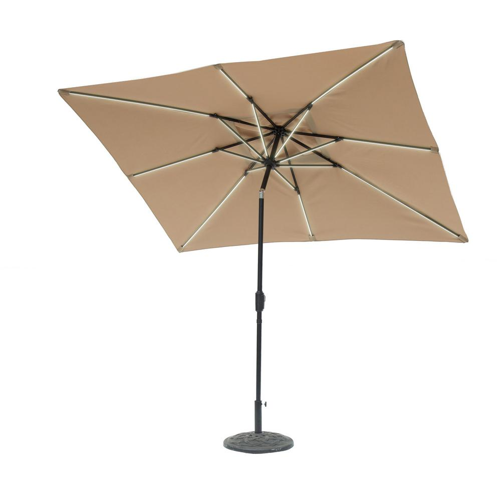 Good SunRay 9 Ft. X 7 Ft. Rectangle Next Gen Solar Lighted Market Patio Umbrella
