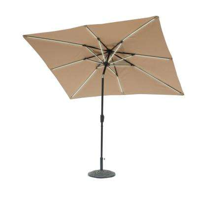 9 ft. x 7 ft. Rectangle Next Gen Solar Lighted Market Patio Umbrella in Taupe