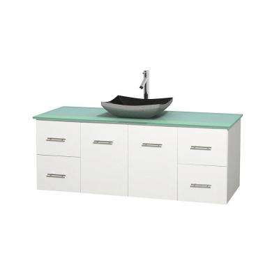 Centra 60 in. Vanity in White with Glass Vanity Top in Green and Black Granite Sink