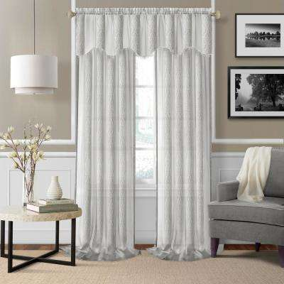 Elrene Enza White Semi Sheer Window Valance - 56 in. W x 15 in. L