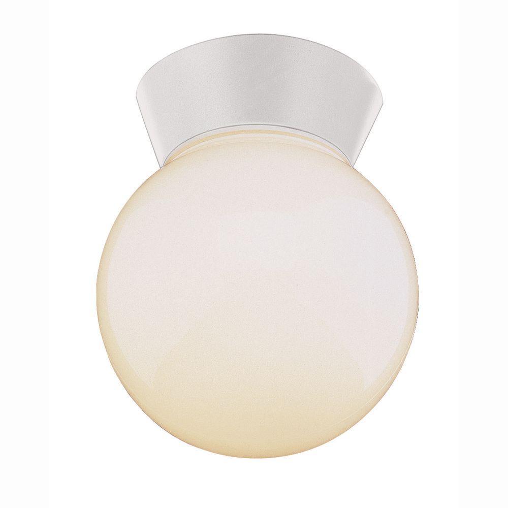 Metropolitan 1-Light Outdoor White Outdoor Flush Mount with Opal Glass