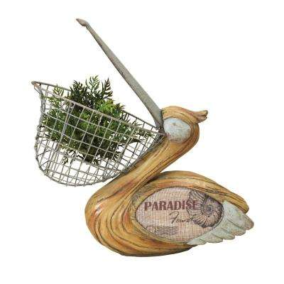 13.6 in. x 10.6 in. Multi-Color Resin Pelican Figurine with Wire Basket Plant Holder