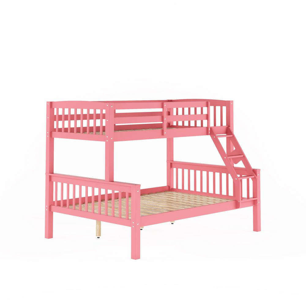 Corliving Dakota Pink Twin And Single Over Full And Double Bunk Bed