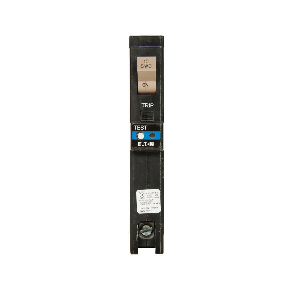 Eaton 15 Amp 1 Pole Type CH Dual Purpose Arc Fault Ground Fault Plug ...