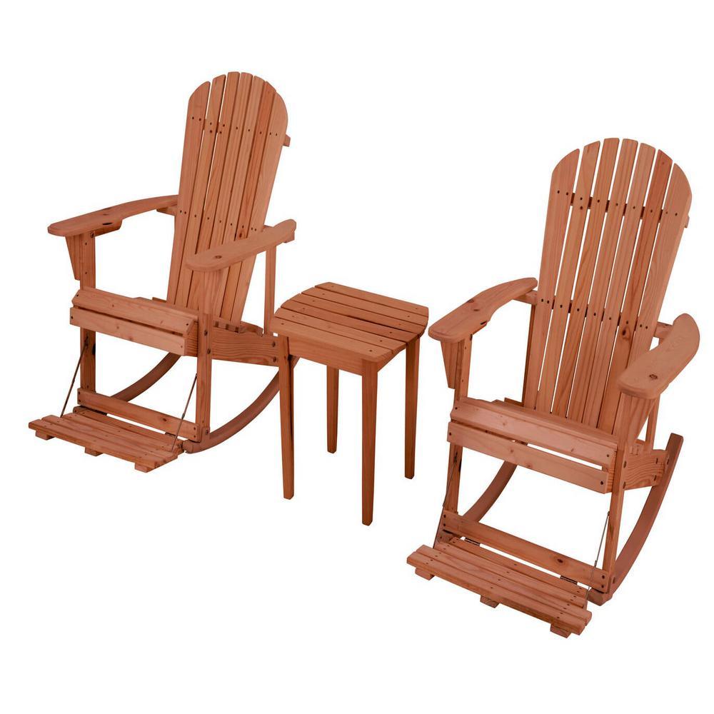 Zero Gravity Walnut 3-Piece Wood Adirondack Rocking Chair Bistro Set