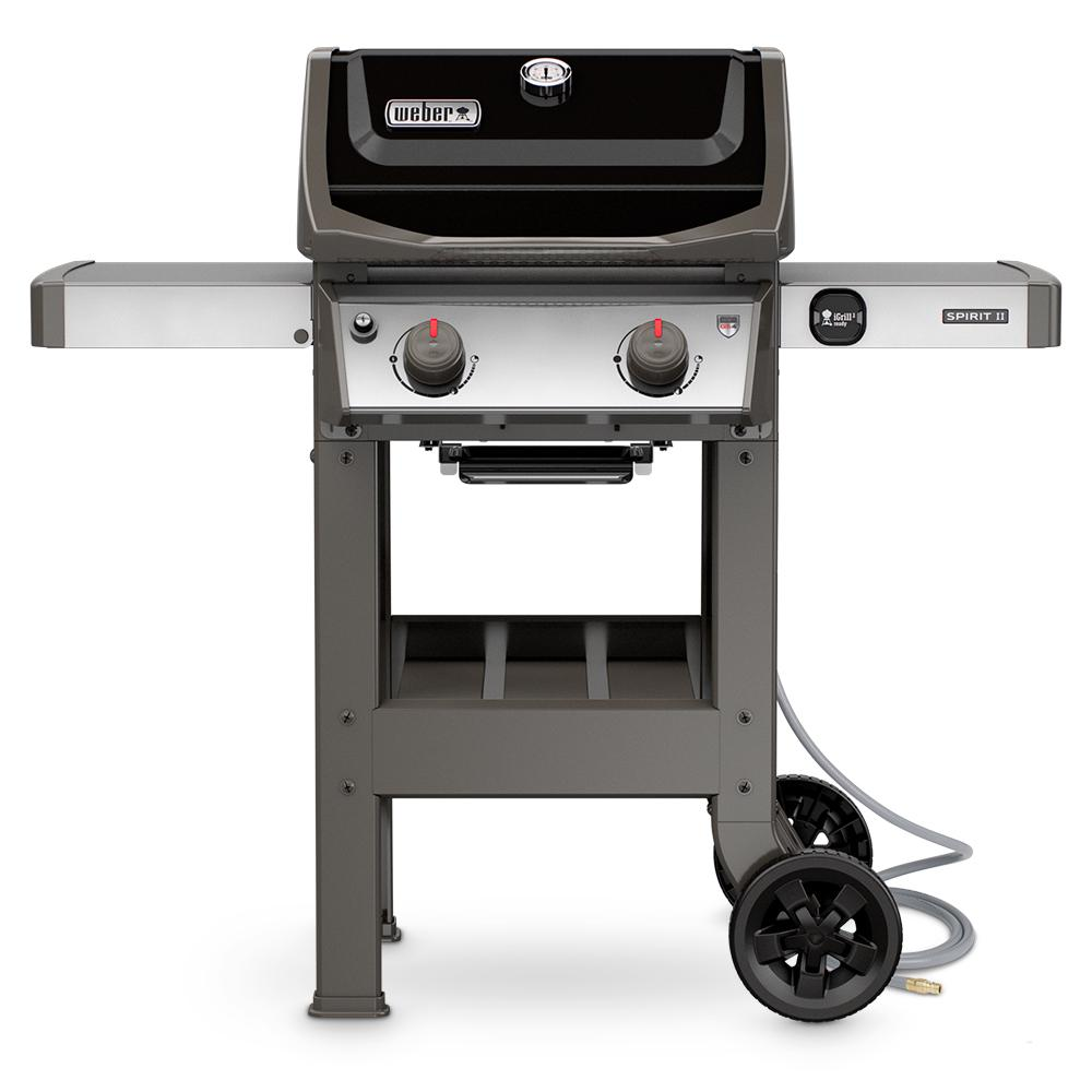 weber spirit ii e 210 2 burner natural gas grill in black 48010001 the home depot. Black Bedroom Furniture Sets. Home Design Ideas